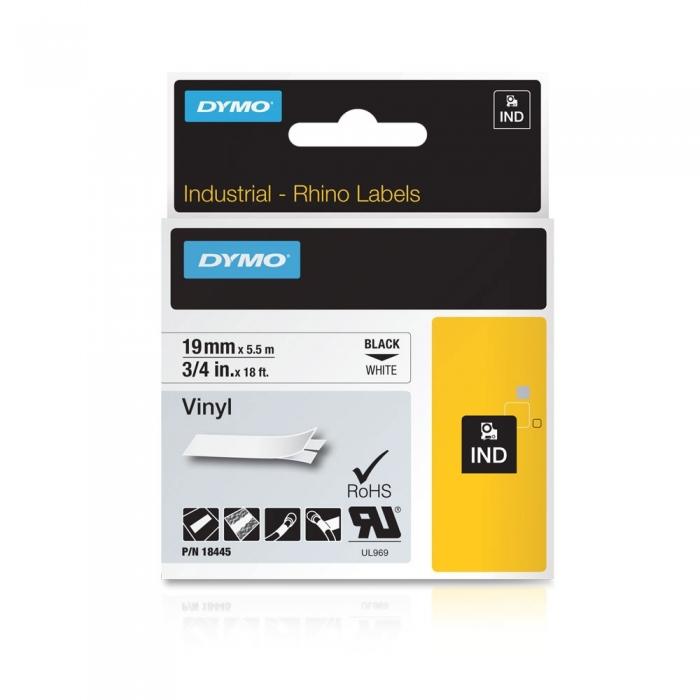 Banda Originala Dymo ID1 19mm x 5.5m Vinil Negru/Alb, 18445, S0718620-big