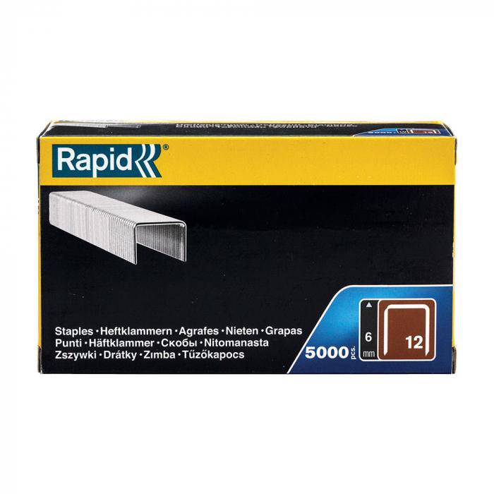 Capse Rapid 12/6 sarma plata galvanizata pentru tapiterie, High Performance, 5000 capse/cutie carton 40100517-big