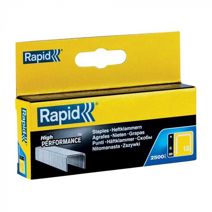 Capse Rapid 13/6 mm, galvanizate, sarma subtire, pentru tapiterie, 2500/cutie carton 11830725-big
