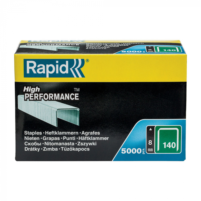Rapid 140/8 High Performance staples, galvanised flat wire, roofing, 5000 staples/carboard box 11908111-big