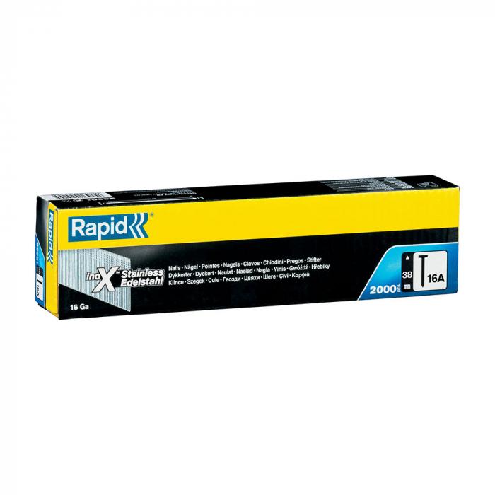 Cuie otel inoxidabil Rapid 16A/38 finisari, in banda, inclinate 20⁰, pentru masina batut cuie Rapid BN64, 2000 cuie/cutie 5000822-big