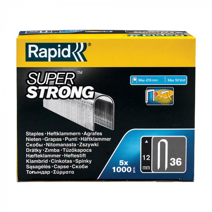 Capse Rapid 36/12 mm pentru cabluri, Super Strong, galvanizate, semicirculare, divergente DP, 5x1000 capse/cutie 5000511-big