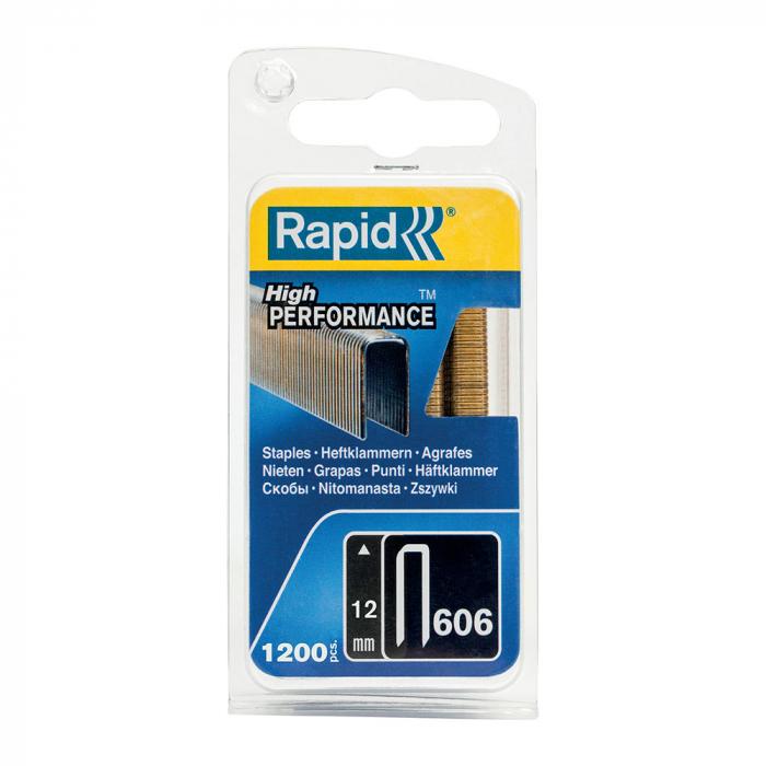 Capse cu coroana ingusta Rapid 606/12 mm, High Performance, acoperite cu rasina, 12mm, 1200 capse/blister 40109527-big
