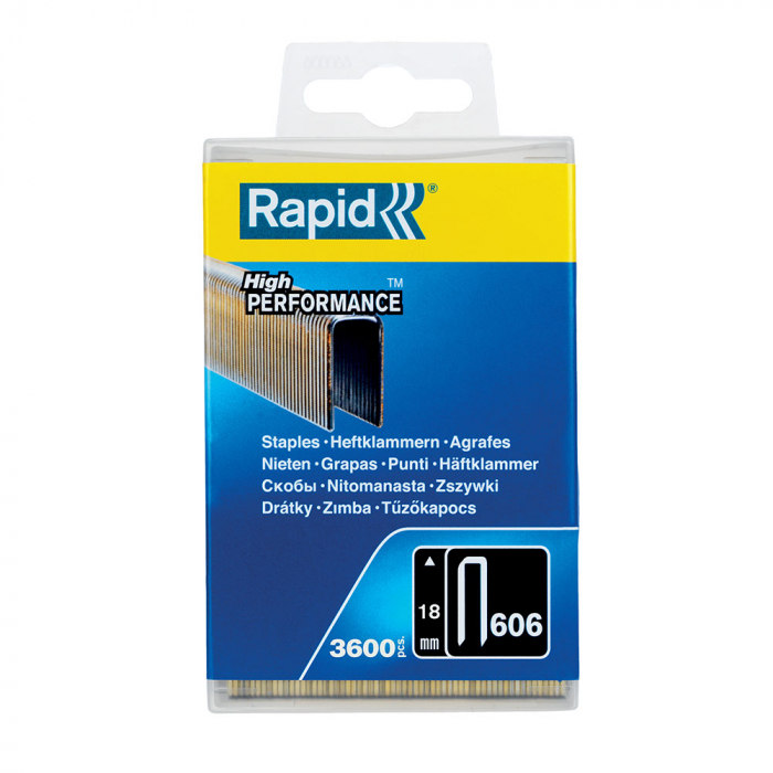 Capse cu coroana ingusta Rapid 606/18 mm, High Performance, acoperite cu rasina, 18mm, 3600 capse/cutie plastic 40303094-big