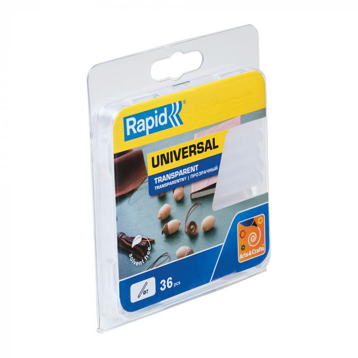 Baton silicon Rapid Decoratiuni Fun to Fix transparent, Universal, Ø7mm x 90mm, baza EVA, 36 buc/blister 40107948-big