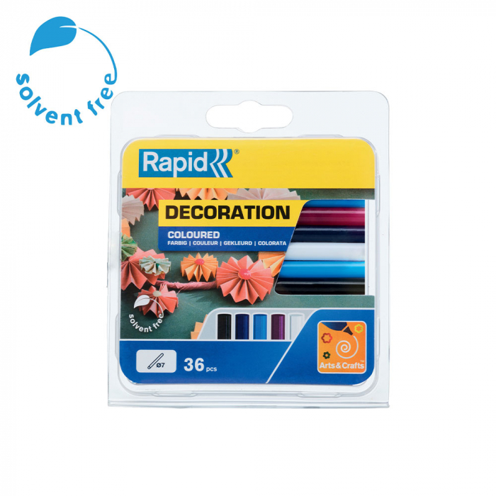 Baton silicon Rapid Decoratiuni Fun to Fix color Clasic (alb, visiniu, bleu, bleumarin, negru), Universal, Ø7mm x 90mm, baza EVA, 36 buc/blister 5001363-big