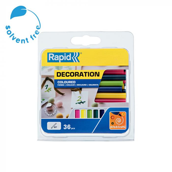 Baton silicon Rapid Decoratiuni Fun to Fix color Modern (albastru, galben, roz, verde si vernil), Universal, Ø7mm x 90mm, baza EVA, 36 buc/blister 5001426-big