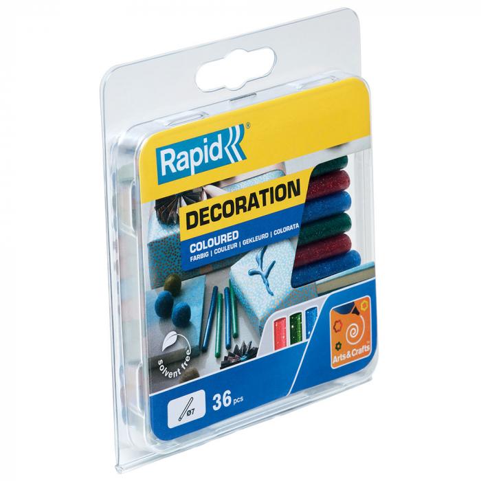 Baton silicon cu sclipici Rapid (verde, rosu, albastru), Universal, Ø7mm x 90mm, baza EVA, 36 buc/blister 5001424-big