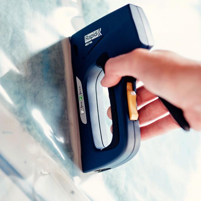 Capsator tacket Rapid ALU740 Dual, reglare forta capsare in 2 trepte, corp aluminiu, grip cauciuc, capse 140/6-14 mm, cuie 8/15, fabricat in Suedia 25072311-big