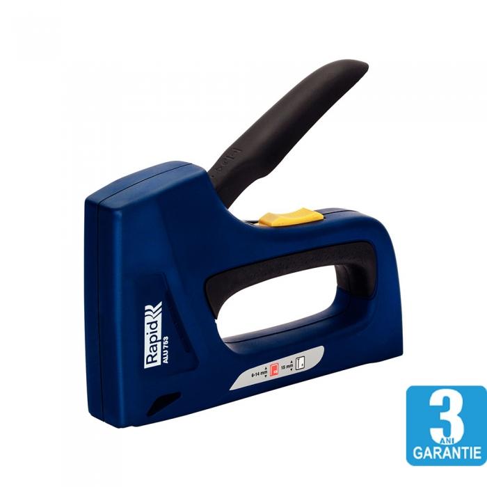 Capsator tacket Rapid ALU753E Dual, reglare forta capsare, corp aluminiu, grip cauciuc, capse 53/6-14 mm, cuie 8/15, 3 ani garantie, 25120801-big