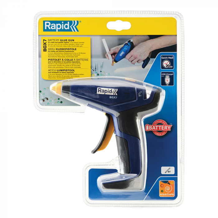 Pistol de lipit Rapid BGX7 cordless, batoane silicon 7mm, timp incalzire 20 secunde, debit 150 g/ora, incarcator micro-USB inclus, 5001401-big