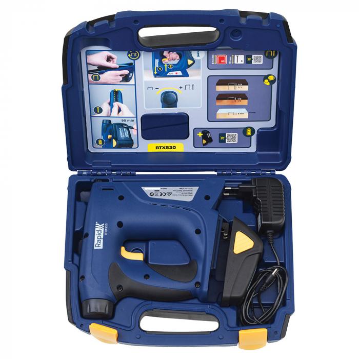 Capsator electric Rapid BTX530 cu acumulator Li-ion kit, pentru tapiterie, forta capsare reglabila, sistem siguranta anti-declansare accidentala, magazie duala, capse Rapid 53, cuie Rapid 8, 5000128-big