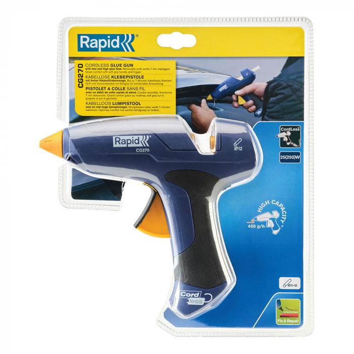 Pistol de lipit Rapid CG270 fara cablu, 7 minute functionare fara cablu alimentare, batoane silicon Ø12mm, 250W, debit 400 g/ora, duze interschimbabile 5000443-big