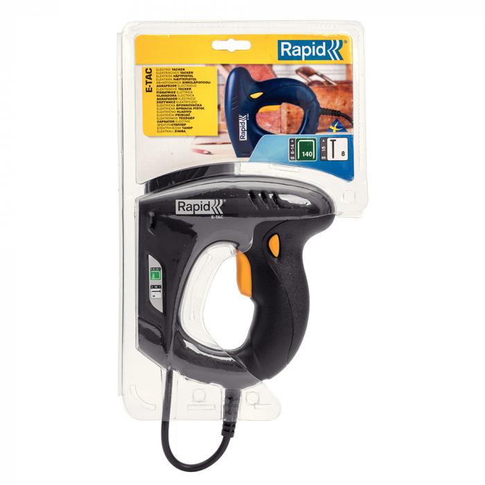 Capsator electric Rapid E-TAC pentru capse si cuie DIY, magazie duala, capse 140/6-14mm, cuie 8/15mm, sistem siguranta 5000573-big