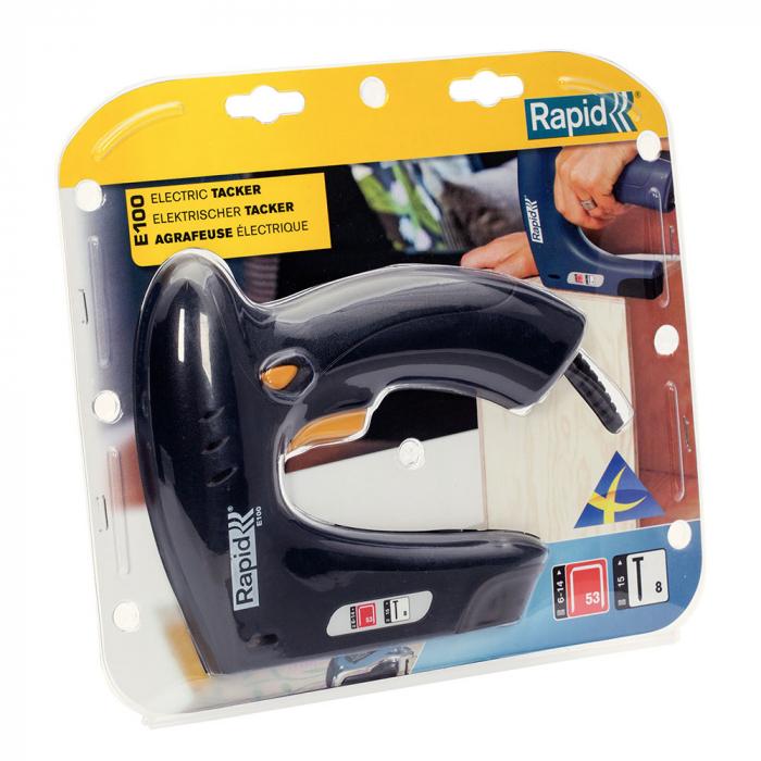 Capsator electric Rapid E100 pentru capse si cuie, mici Proiecte DIY, Desing ergonomic, magazie duala, capse 53/6-14mm, cuie 8/15mm 5000578-big