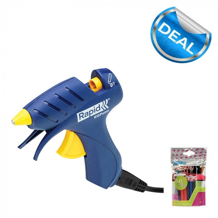 Rapid EG Point Cordless Glue Gun and 20 Glue Stick Coloured Rapid Fun to Fix 7 mm-big
