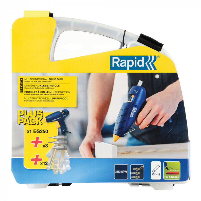 Rapid EG250 Glue Gun Kit, includes 12 pcs Universal clear glue stick 12mm, 3 nozzle and Rapid Professional Glue Stick Multi-purpose color (red, yellow, blue), Ø12mm x 190mm-big