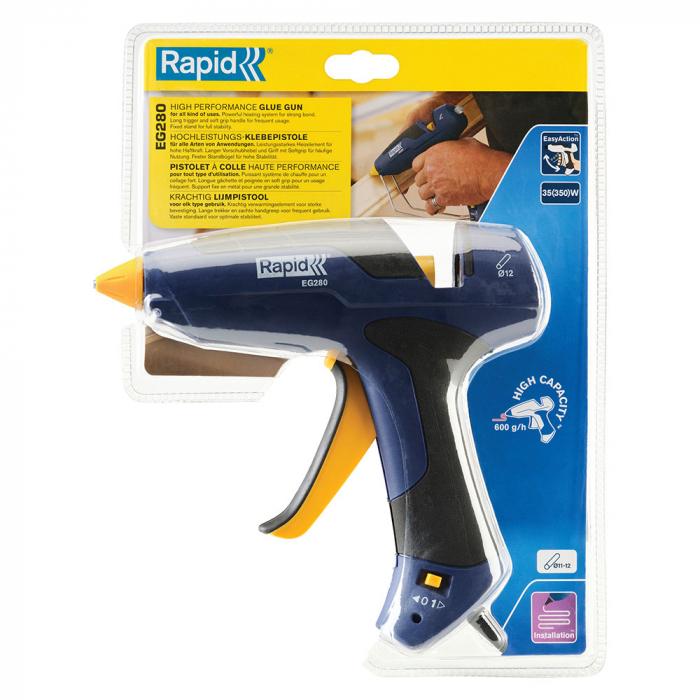 Pistol de lipit Rapid EG280, batoane silicon Ø12mm, 350W, debit 600 g/ora, actionare tragaci cu 4 degete, protectie maner la supra incalzire, duze interschimbabile 5000444-big