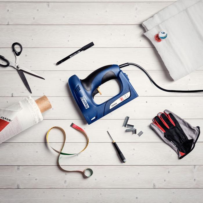 Capsator electric Rapid ESN530 pentru capse si cuie kit cu servieta, tapiterie, capsare aproape de perete, magazie duala, capse 53/6-14mm, cuie 8/15mm 5000129-big