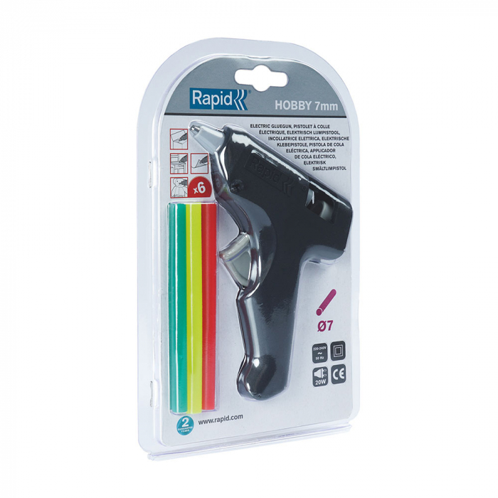 Pistol de lipit Rapid Hobby 7 mm, include 6 batoane silicon color diametru 7mm, 20W, 185°C, debit 100 g/h, 5001371-big