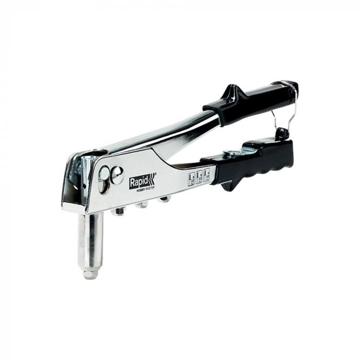 Cleste pop nituri Rapid Hobby 3.2/4.0/4.8mm, 4 capete nituire interschimbabile, grip moale, pentru lucrari ocazionale, 5001129-big