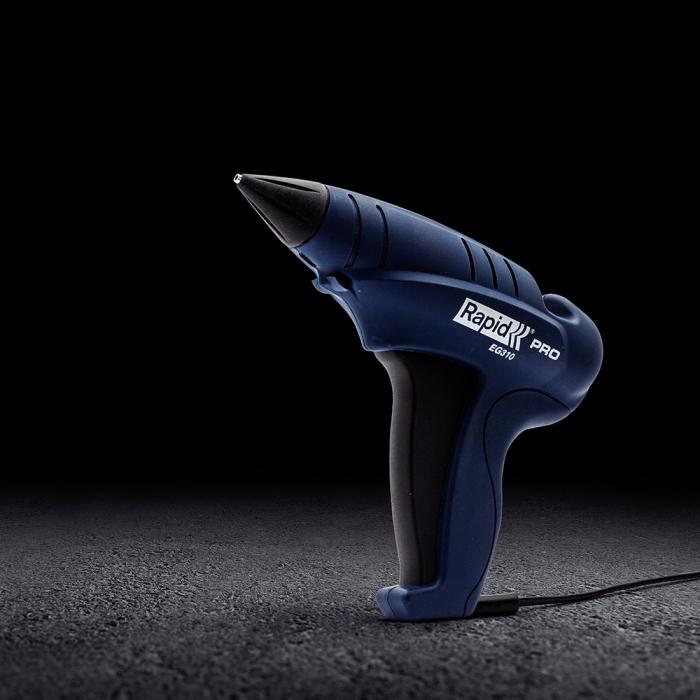 Pistol de lipit Rapid EG310 PRO Kit, pentru baton lipici 12 mm diametru, putere 250W, temperatura lucru 200°C, debit 1000g/h, duze interschimbabile, actionare tragaci cu 4 degete, 40303006-big