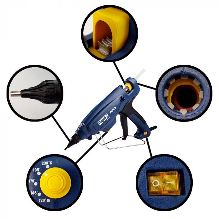 Pistol de lipit Rapid EG360 PRO industrial, batoane lipici 12 mm, putere 300W, temperatura reglabila 120°C - 230°C, debit lipici 1800 g/h, duze interschimbabile, actionare tragaci cu 4 degete, 5000328-big