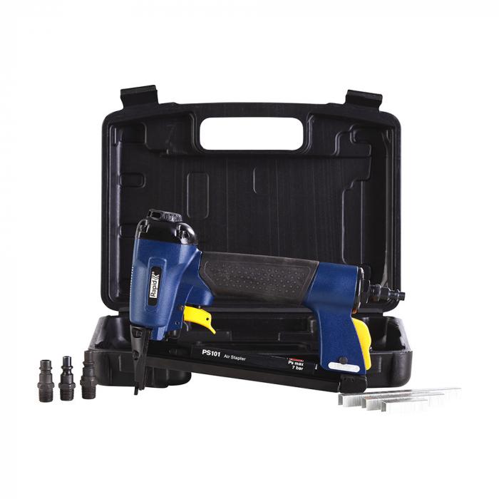 Pistol de batut capse pneumatic Rapid PS101 capse 53/6-16mm, 300 capse 53/10mm, cheie hexagonala, 3 reductii furtun aer comprimat, 2 ani garantie 5000051-big
