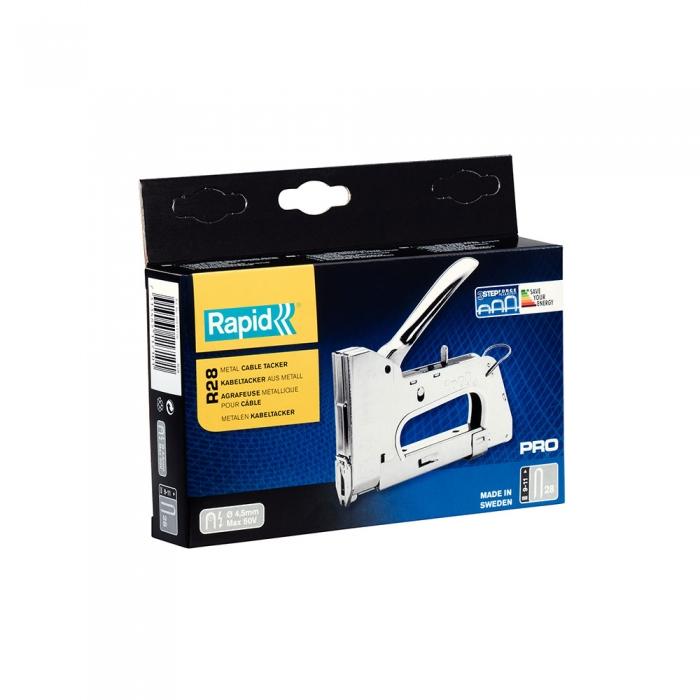 "Capsator tacker cabluri Rapid PRO 28E, capse semirotunde ""U"" 28/9-11 mm, reglare forta capsare in 3 trepte, diametru cablu 4.5 mm, joasa tensiune, 5 ani garantie, fabricat in Suedia 20511710-big"