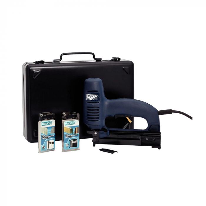 Capsator electric Rapid PRO 606 kit cu servieta metalica, pentru capse si cuie, forta impact ajustabila, magazie duala, capse 606/12-25mm, cuie 8/15-25mm, cablu alimentare 3.5 metri 10643015-big