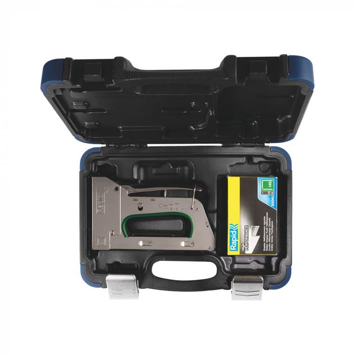 Capsator tacker Rapid PRO R34E kit, ajustare forta capsare in 3 trepte, capse 140/6-14 mm, include capse 140/8 (2000buc/cutie) si capse 140/10 (2000buc/cutie), 5 ani garantie, fabricat in Suedia 50013-big