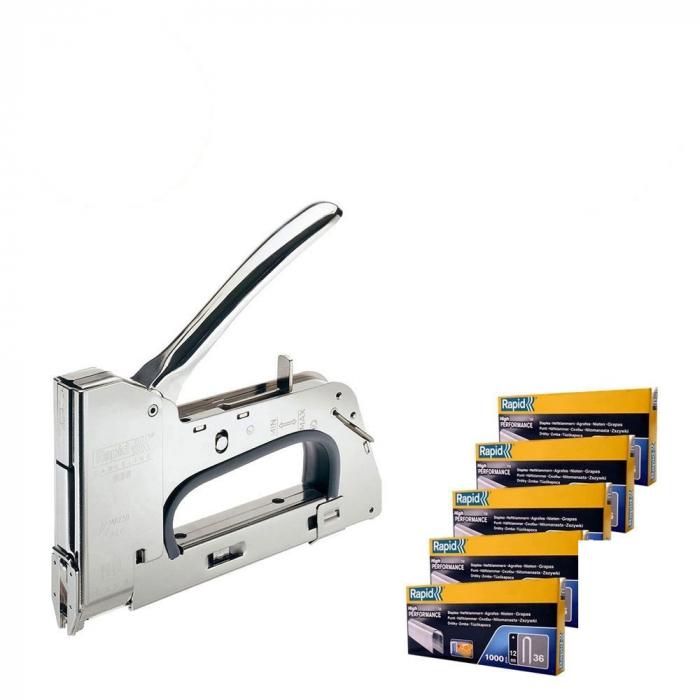 Pistol capsat R36E, 36/10-14mm si 5 cutii capse Rapid 36/12 mm, galvanizate, divergente-big