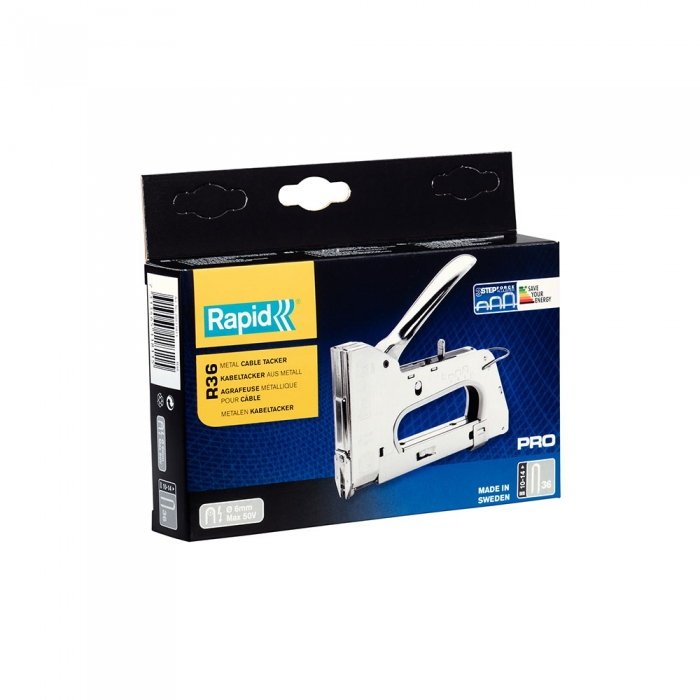 "Rapid PRO R36E Staple Gun CableRapid PRO 36E staple gun cables, semi-round staples ""U"" 36/10-14 mm, 3-steps force adjuster, cable diameter 6 mm, low voltage, 5 year guarantee, made In Sweden 20511811-big"