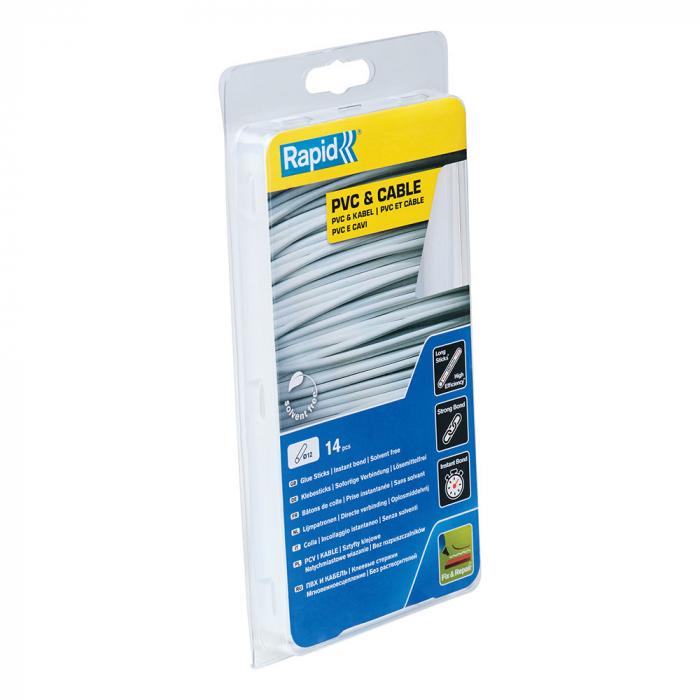 Baton silicon profesional Rapid PVC, Cabluri si Plastic, fixare si reparatii, transparent, Ø12mm x 190mm, baza EVA, 14 buc/blister 40107363-big