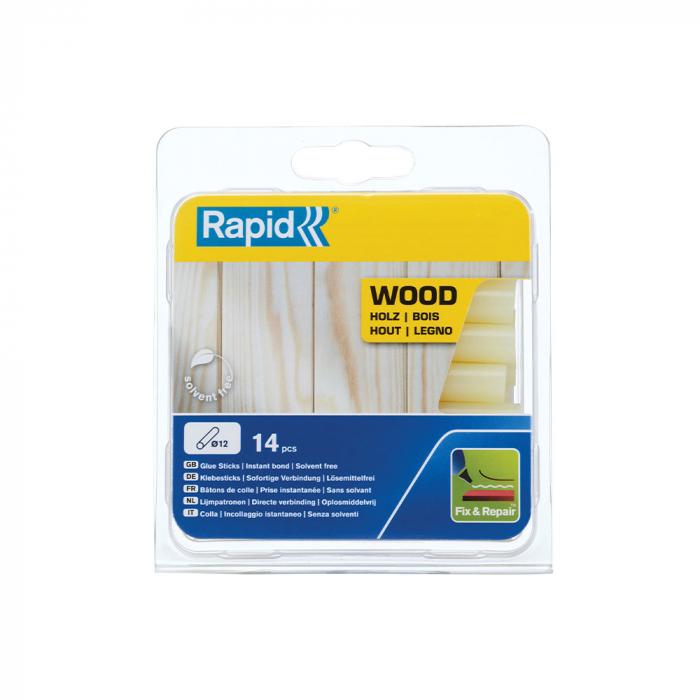 Baton silicon profesional Rapid pentru Lemn, Carton, Pluta, galben, Ø12mm x 94mm, baza EVA, 14 buc/blister 40107360-big