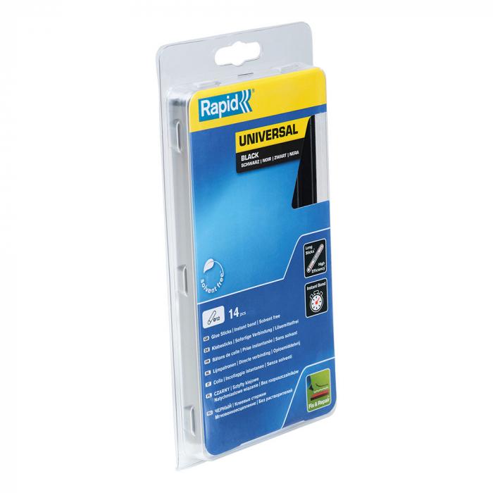 Baton silicon profesional Rapid Universal negru, Ø12mm x 190mm, baza EVA, 14 buc/blister 5000211-big