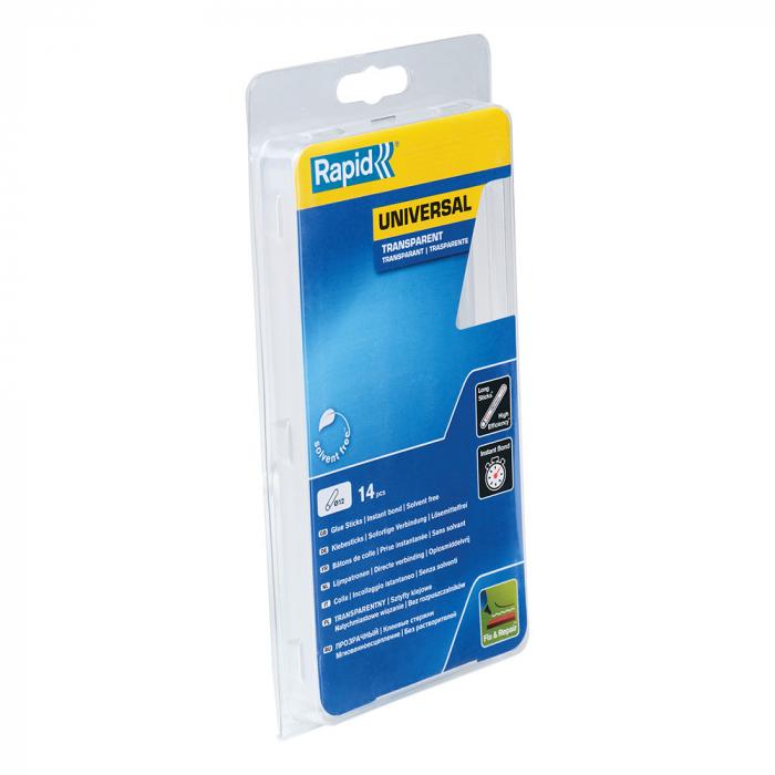 Baton silicon profesional Rapid Universal transparent, Ø12mm x 190mm, baza EVA, 14 buc/blister 40107362-big