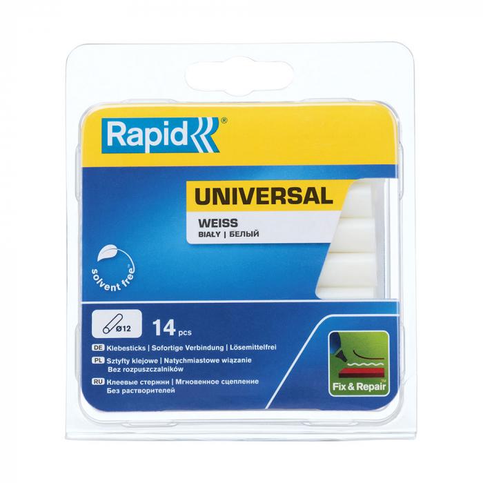 Baton silicon profesional Rapid Universal alb, Ø12mm x 94mm, baza EVA, 14 buc/blister 5000694-big
