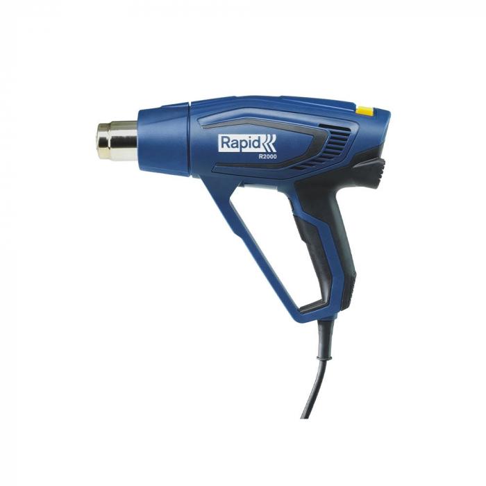 Rapid R2000 Hot Air Gun kit, include rigid plastic blue case, 2000 W, air flow 450 l/min, 3 airflow levels, temperature settings 60°C/550°C, overheating protection, 2 year guarantee, 5001352-big
