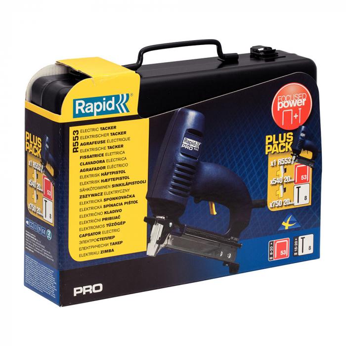 Capsator electric Rapid R553 kit cu servieta metalica pentru tapiterie, reglare forta impact, sistem siguranta tragaci, capse 53/8-20mm, cuie 8/15-20 mm 10642912-big