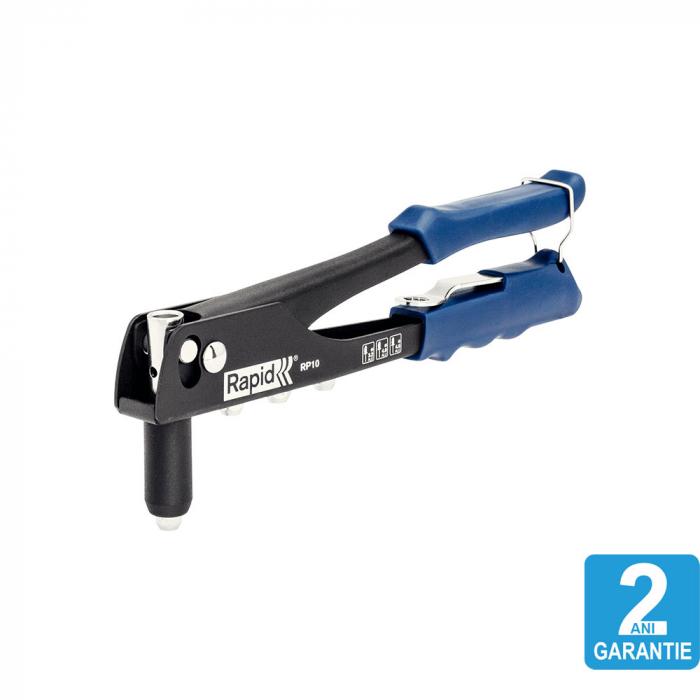 Cleste pop nituri Rapid RP10 + 100 nituri 3.2/4.0/4.8mm, 4 capete nituire interschimbabile, grip moale, pentru lucrari ocazionale, garantie 2 ani, 5000523-big