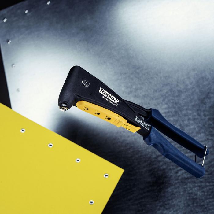 Cleste pop nituri Rapid RP40 Multi, cap nituire universal cu etrier incorporat, 3.2/4.0/4.8mm, nituri aluminiu sau otel, sistem de verificare dimensiuni nituri, grip moale, garantie 3 ani, 5001139-big
