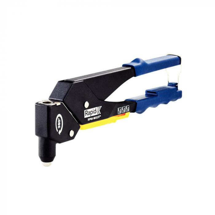 Cleste pop nituri Rapid RP60 Multi kit cu servieta, cap rotativ 360⁰, nituri aluminiu si otel 3.2/4.0/4.8mm, verificator nituri, etrier integrat, grip moale, garantie 3 ani, 5001128-big