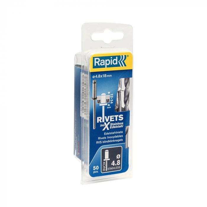 Nituri Rapid otel inoxidabil diametru 4.8mm x 18mm, burghiu metal HSS inclus, 50buc/set, 5000397-big