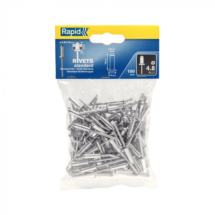 Nituri Standard Rapid diametru 4.8mm x 16mm, aluminiu, 100buc/set, 5000382-big