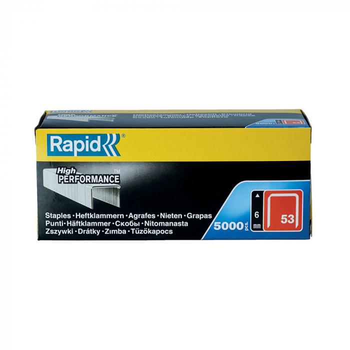 Capse Rapid 53/6, sarma subtire, galvanizate, decoratiuni, 5000/cutie carton 11856250-big