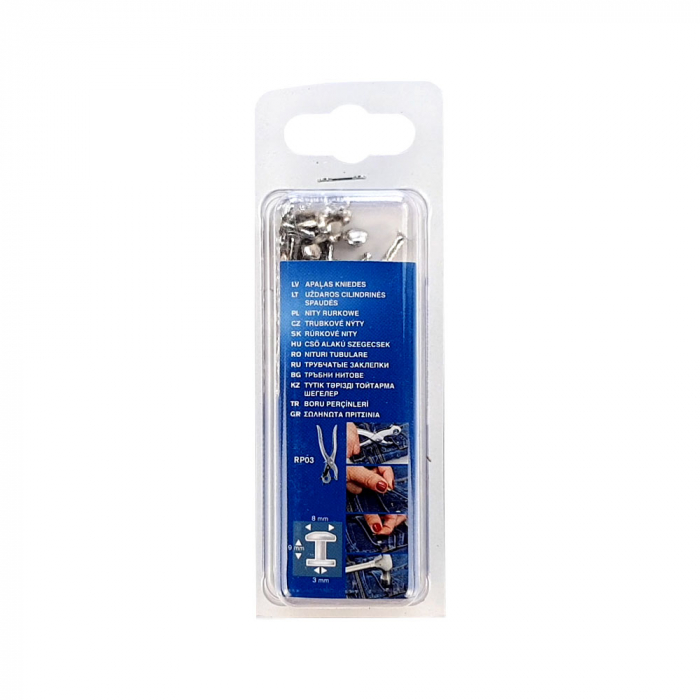 Nituri tubulare Rapid diametru 8mm, inaltime 9mm, capac diametru 8mm, inaltime 3mm, otel, sistem de fixare inclus, 25 perechi/set 5000415-big