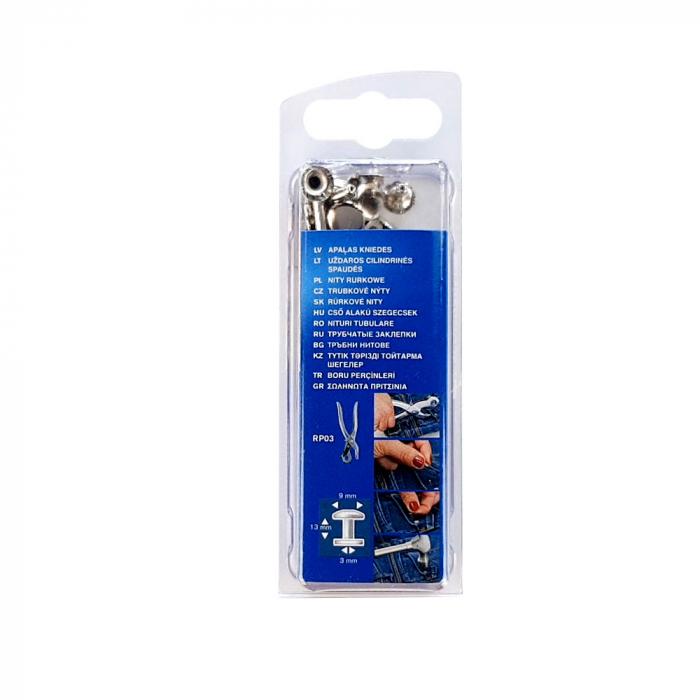 Nituri tubulare Rapid diametru 9mm, inaltime 9mm, capac diametru 13mm, inaltime 3mm, otel, sistem de fixare inclus, 25 perechi/set 5000416-big