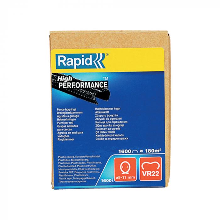 Capse gard Rapid HOG VR22, 5-11 mm, plastifiate negru, 1600 buc/cutie-big