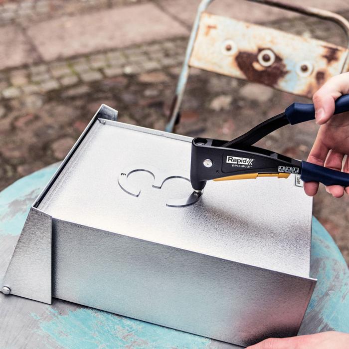 Nituri cu cap larg Rapid diametru 4.0mm x 12mm, aluminiu, burghiu metal HSS inclus, 50 buc/set 5000661-big
